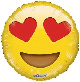 18 inch Kaleidoscope Smiley In Love Emoticon Foil Circle Balloon - flat