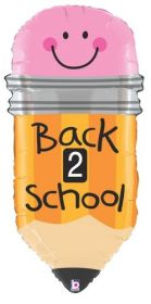 32 inch Betallic Back to School Pencil Shape Foil Balloon - Flat