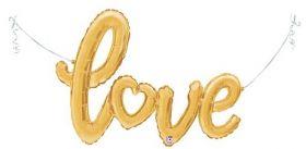 47 inch Betallic Gold Script Love Shape Foil Mylar Balloon - AIR FILL - Pkg