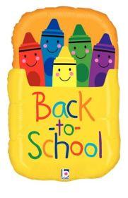 28 inch Betallic Back to School Crayon Box Shape Foil Balloon - Flat