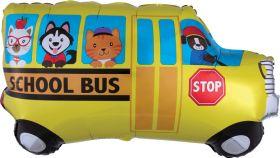 30 inch Anagram School Bus Shape Foil Balloon - Flat