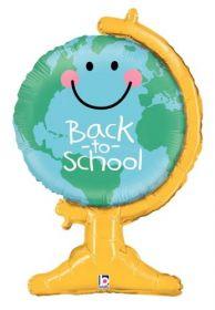 33 inch Betallic Back to School Globe Shape Foil Balloon - Flat