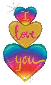 40 inch Betallic I Love You Heart Trio Shape Foil Balloon - flat