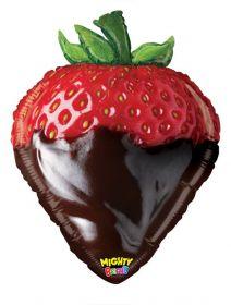26 inch Betallic Chocolate Strawberry Shape Foil Balloon - flat