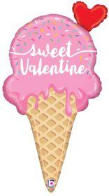 35 inch Betallic Sweet Valentine Ice Cream Cone Shape Foil Balloon - flat