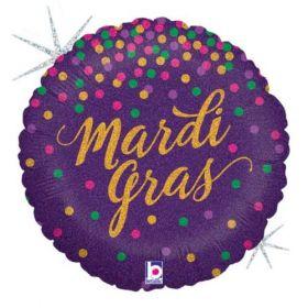 18 inch Betallic Mardi Gras Confetti Holographic Foil Balloon - Flat