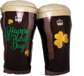 28 inch Anagram Happy St Patricks Day Beer Glasses Shape Foil Balloon - Flat
