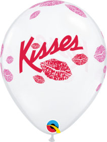 11 inch Qualatex Kisses Around Diamond Clear All Around Print Latex Balloons- 50 count
