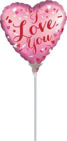 9 inch Anagram Satin I Love You Heart Foil Balloon - flat