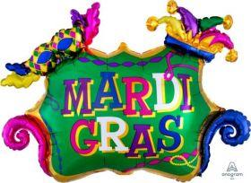 34 inch Anagram Mardi Gras Celebration Shape Foil Balloon - Flat