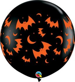 36 inch Qualatex Flying Bats and Moons Halloween Latex - 2 count