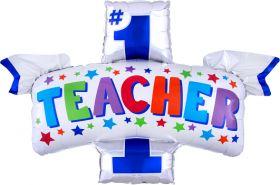 38 inch Anagram Number 1 Teacher Shape Foil Balloon - Flat