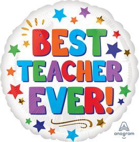 18 inch Anagram Best Teacher Ever Circle Foil Balloon - Flat