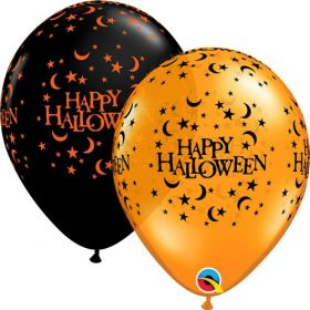 11 inch Qualatex Halloween Moon and Stars Latex Assortment - 50 count