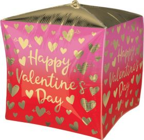 15 inch Anagram Happy Valentine's Day Ombre Gold Hearts Cubez - Pkg