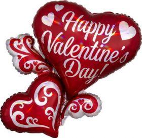 26 inch Anagram Swirly Hearts Happy Valentine's Day Foil Balloon - flat