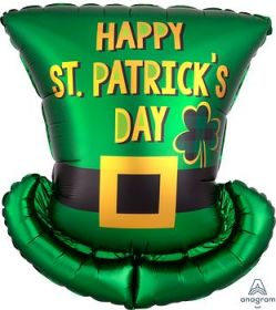 24 inch Anagram St Pat's Day Top Hat Shape Foil Balloon - Flat