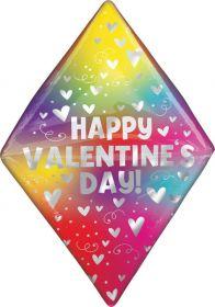 25 inch Anagram Happy Valentine's Day Rainbow Heart Gem Anglez Foil Balloon - Pkg