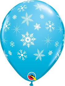 11 inch Qualatex Snowflakes & Sparkles Around Latex Balloon - 50 count