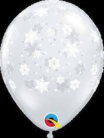 11 inch Qualatex Diamond Clear Snowflakes Around Latex Balloon - 50 count