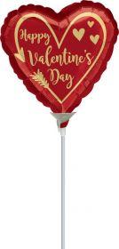 9 inch Anagram Happy Valentine's Day Arrow Heart Foil Balloon - flat
