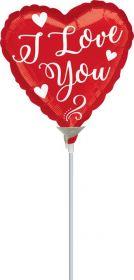 9 inch Anagram White Script I Love You Heart Foil Balloon - flat