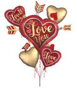 Anagram Bouquet Satin Love You Arrows Foil Balloon - Pkg