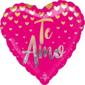 18 inch Anagram Te Amo Golden Hearts Heart Foil Balloon - flat