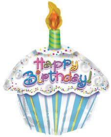 22 inch Happy Birthday Petite Cupcake Balloon - Flat