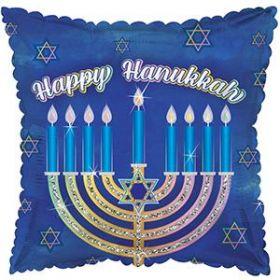 18 inch CTI Happy Hanukkah Glittered Menorah Square Foil Mylar Balloon