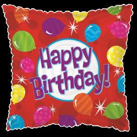 18 inch Foil Mylar Square Happy Birthday Bright Balloons Balloon - Flat