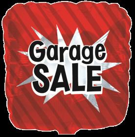 18 inch Foil Mylar Red Square Garage Sale Balloon