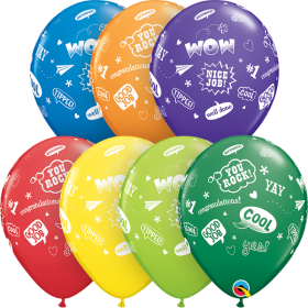Qualatex 11 inch Congrats Messages Carnival Assorted Latex Balloons - 50 count