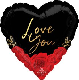 18 inch Anagram Love You Romantic Roses Heart Foil Balloon - flat