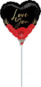 9 inch Anagram Love You Romantic Roses Heart Foil Balloon - flat