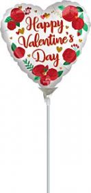 9 inch Anagram Happy Valentine's Day Satin Roses Heart Foil Balloon - flat