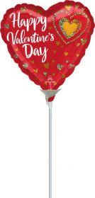 9 inch Anagram Happy Valentine's Day Glitter Hearts Foil Balloon - flat