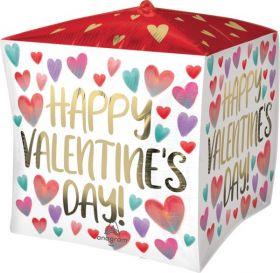 15 inch Anagram Happy Valentine's Day Painted Hearts Cubez - Pkg
