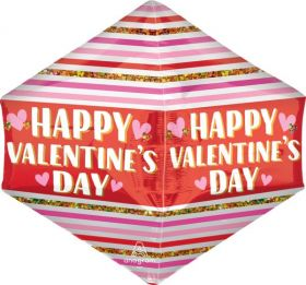 21 inch Anagram Happy Valentine's Day Stripes Glitter Anglez Foil Balloon - Pkg