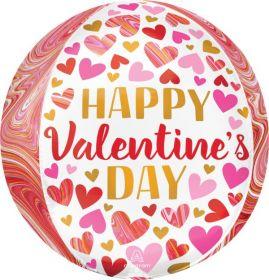 16 inch Anagram Happy Valentine's Day Marbling Orbz Foil Balloon - Pkg