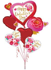 Anagram Bouquet Happy Valentine's Day Heart and Roses Foil Balloon - Pkg
