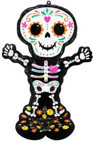 52 inch Anagram Day of the Dead Skeleton Airloonz Foil Balloon - Pkg
