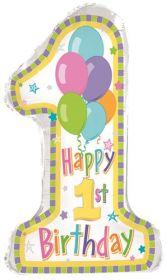 29 inch 1st Birthday Pastel Number 1 Shape Balloon - Flat
