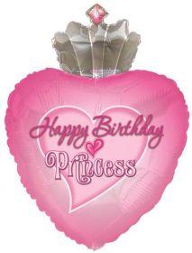 29 inch Happy Birthday Princess Crown Shape Balloon - Flat