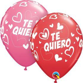 11 inch Qualatex Valentine's Te Quiero Mix & Match Hearts Latex Balloons- 50 count