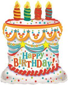 26 inch Foil Mylar White Happy Birthday Cake Shape Balloon - Flat