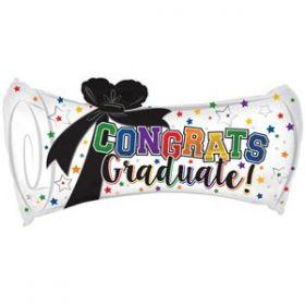 30 inch CTI Congrats Graduate Diploma Shape Foil Balloon with Ribbon - flat