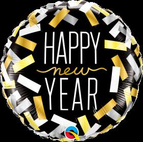Qualatex 18 inch Foil Mylar Happy New Year Confetti Strips Round Balloon