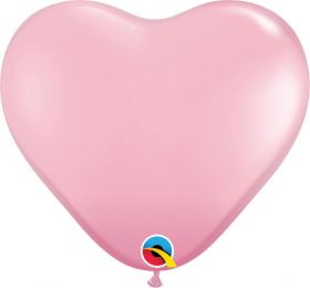 6 inch Qualatex Pink Heart Shape Latex Balloons - 100 count