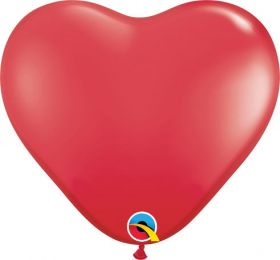 11 inch Qualatex Red Heart Shape Latex Balloons - 100 count